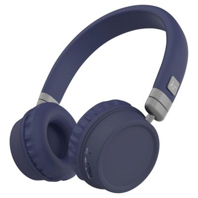 Kitsound Harlem Wireless Over-Ear Headphones With Microphone, Blue