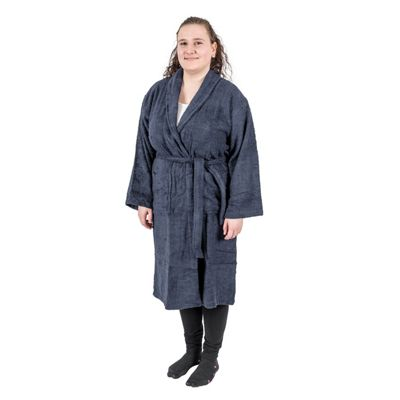 56f94bb6ec Homescapes Navy 100% Egyptian Cotton Terry Towelling Adults Shawl Collar  Bathrobe