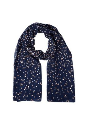 F&F Spotty Foil Print Scarf Navy/Multi One Size