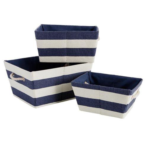 Nautical Set Of 3 Canvas Baskets