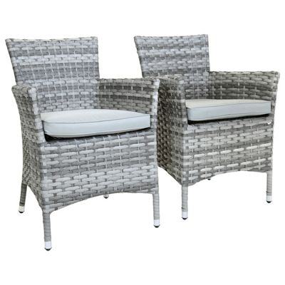 Charles Bentley Milano Grey Pair Of Rattan Dining Armchairs