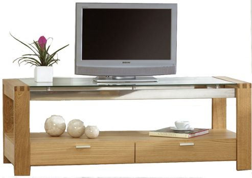 Mark Harris Roma Oak and Clear Glass TV Stand
