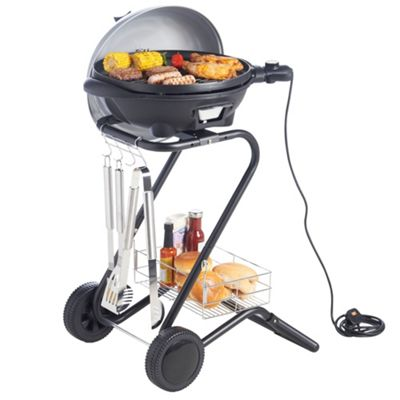 VonShef Electric BBQ Barbecue in Silver, 1600W, with 5 Temperature Settings & Built In Thermometer Gauge
