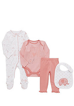 F&F Elephant Print All in One, Bodysuit, Leggings and Bib Set - Pink