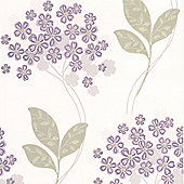 Superfresco Festival Floral Purple Wallpaper