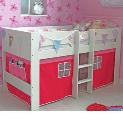 Happy Beds Jessie Wood Kids Midsleeper Bed with Pink Tent - White - EU Single