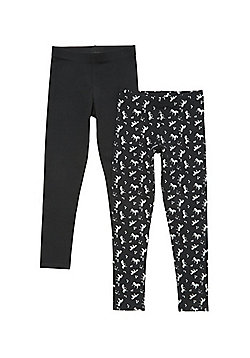 F&F 2 Pack of Unicorn Glitter and Plain Leggings - Black