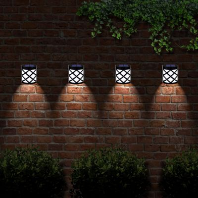 6 LED Decorative Wireless Garden Solar Lights Weatherproof Outdoor Fence Lamps x 4