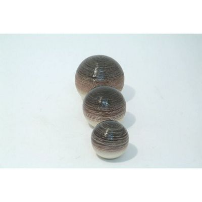 Giftworks Striped Ball in Brown and Cream (Set of 3)