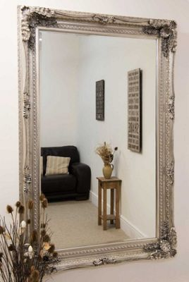 Large Silver Antique Shabby Chic Ornate Wall Mirror 4Ft1 X 6Ft1, 123.5cm X 185cm