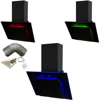 SIA 70cm 3 Colour LED Edge Lit Touch Control Black Cooker Hood + 1m Ducting