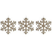 Set of 3 Gold 19cm Snowflake Christmas Tree Decorations