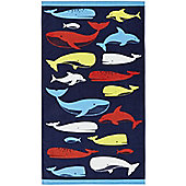 Catherine Lansfield Whales Beach Towel Blue