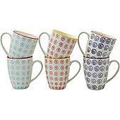 Nicola Spring Patterned Mugs - 360ml (12.7oz) - 3 Swirl Designs - Box Of 6