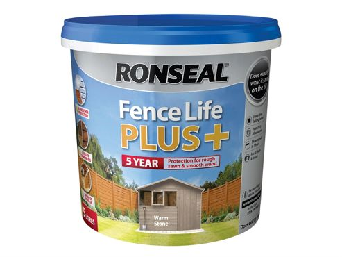 Ronseal Fence Life Plus+ Warm Stone 5 Litre