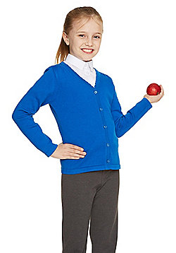 F&F School Girls Scallop Trim Cardigan with As New Technology - Blue