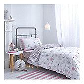 Bianca Cotton Soft Nordic Pink Print Duvet Cover Set - Double