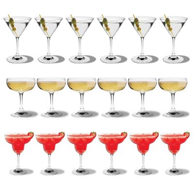Rink Drink Martini / Margarita Cocktail Drinking Glass / Champagne Saucer - Set of 18 Glasses