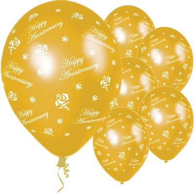 Anniversary Gold Roses 11 inch Latex Balloons - 25 Pack