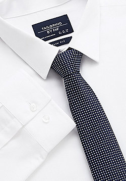 F&F Textured Slim Fit Easy Care Shirt with Tie - White