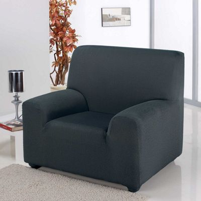 Homescapes Single Seat Armchair Cover Elasticated Slipcover Protector, Charcoal Grey