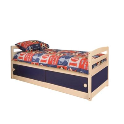 Comfy Living 3ft Single Children's Slide Storage Cabin Bed with Blue Slide Storage with Sprung Mattress
