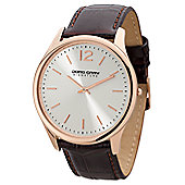 Men's Watch JGS2560 - Brown Leather Strap - White Dial - Jorg Gray