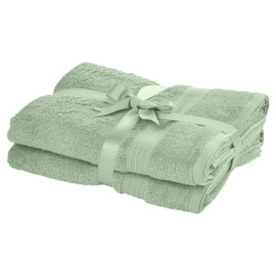 TESCO HYGRO COTTON 2 PACK BATH TOWELS MINT