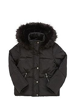 F&F Faux Fur Trim Hooded Puffer Jacket - Black