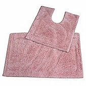 Homescapes Luxury Two Piece Bath Mat Set Pink
