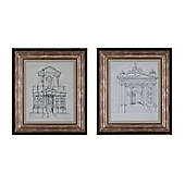 Gateway and Basilica Set of 2 Framed Prints 52cm x 90 cm