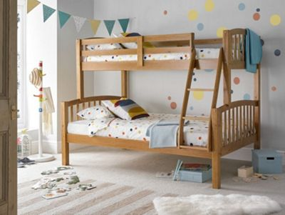 Happy Beds American Wood Kids Triple Sleeper Bunk Bed with 2 Memory Foam Mattresses - Pine - 4ft Small Double