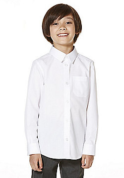 F&F School 2 Pack of Boys Easy Care Slim Fit Shirts - White