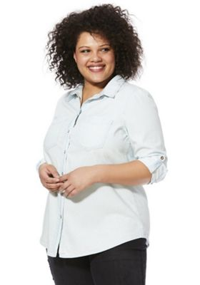 Simply Be Plus Size Denim Shirt Bleach Wash 22