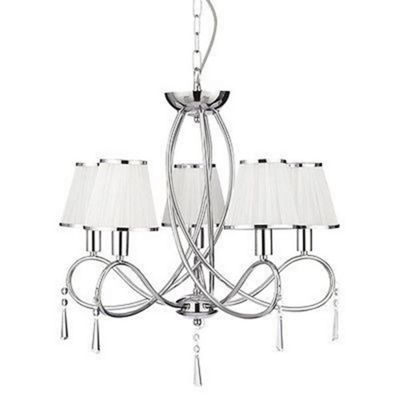 SIMPLICITY - 5 LIGHT CEILING, CHROME CURVED FRAME, WHITE STRING SHADES & CLEAR GLASS DECO