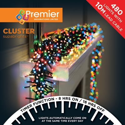 Premier 480 Multi Action Cluster LED Lights with Timer - Multi-Colour