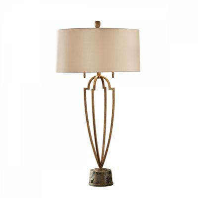Firenze Gold / Brown Marble Base 2lt Table Lamp - 2 x 60W E27
