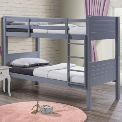 Happy Beds Dakota Wood Kids Bunk Bed with 2 Open Coil Spring Mattresses - Grey - 3ft Single