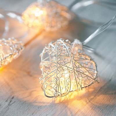 10 Silver Heart Battery LED Fairy Lights