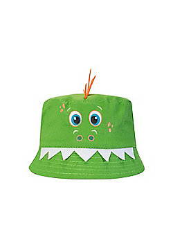 Mountain Warehouse Girls 100% Cotton Owl Kids Bucket Wide Brim Hat w/ Fabric - Green