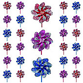 40 Holographic Flower Windmills 20cm