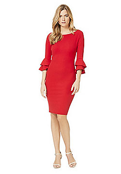 Jessica Wright Izzie Bell Sleeve Pencil Dress - Red