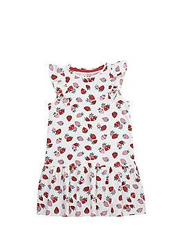 F&F Strawberry Print Ruffle Detail Dress - White