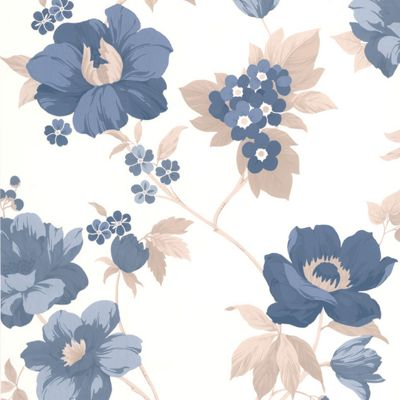 Superfresco Easy Eden Paste The Wall Floral Blue Wallpaper