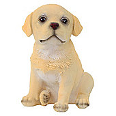 Realistic 16cm Sitting Yellow Labrador Puppy Dog Statue Ornament