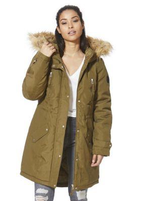 Vero Moda Faux Fur Trim Hooded Parka XS Olive