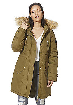 Vero Moda Faux Fur Trim Hooded Parka - Olive
