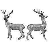 Set of 2 20cm Silver Polyresin Stag Christmas Ornaments