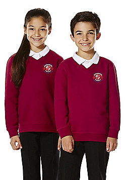 Unisex Embroidered V-Neck School Sweatshirt with As New Technology - Claret