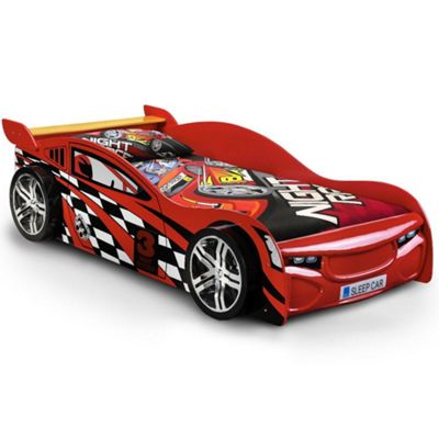 Happy Beds Scorpion Wood Kids Themed Race Car Bedwith Open Coil Spring Mattress - Red - 3ft Single